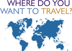 "Image with text ""Where do you want to travel?"" above a map of the World"